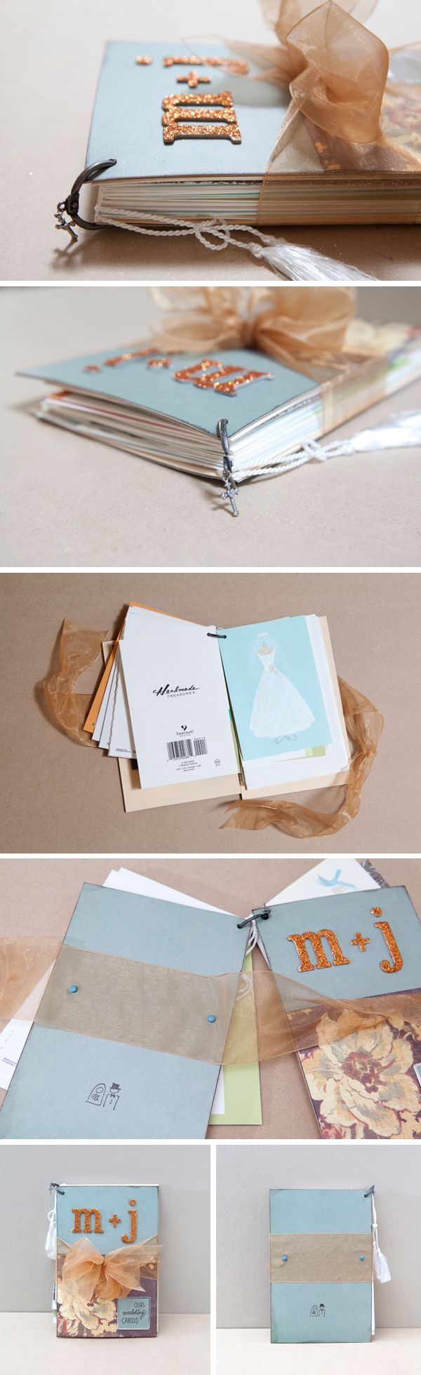 How to diy an adorable album to save special greeting cards wedding card albumwhat a great way to compile and display these cards that i cant part with m4hsunfo