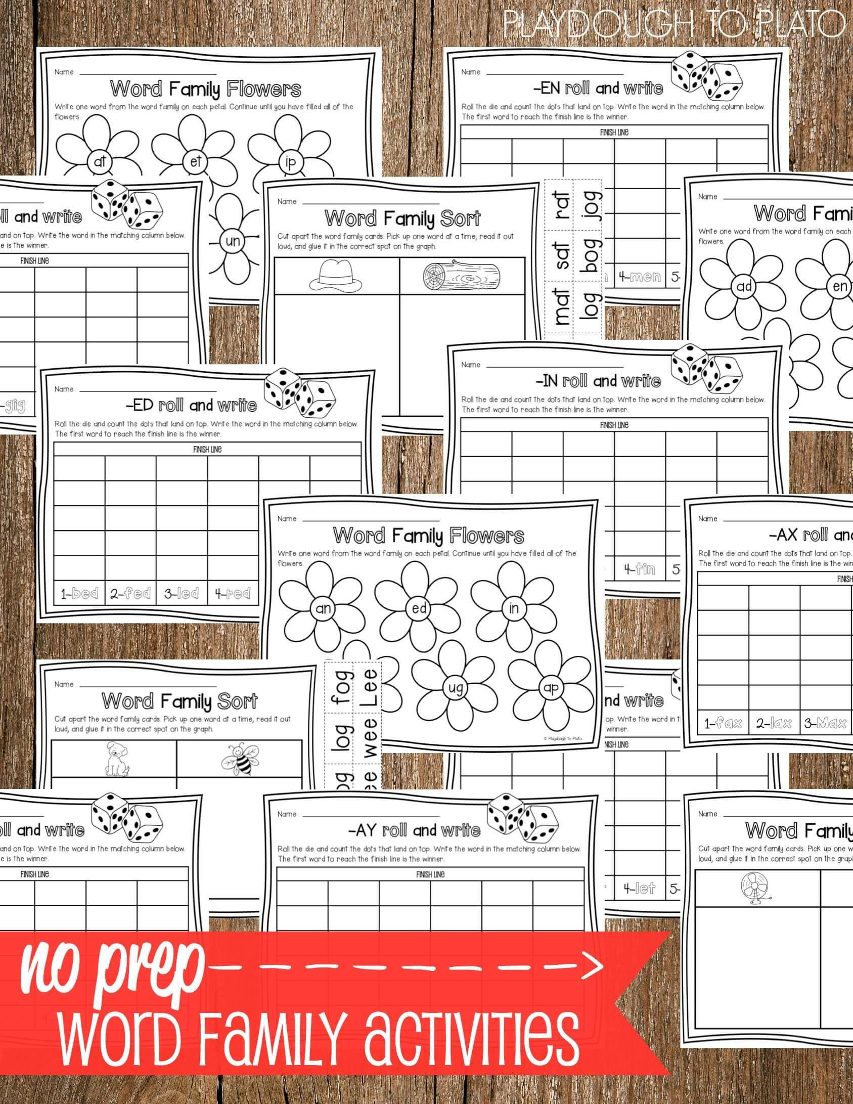 Motivating Hands On No Prep Word Family Sheets 1 687