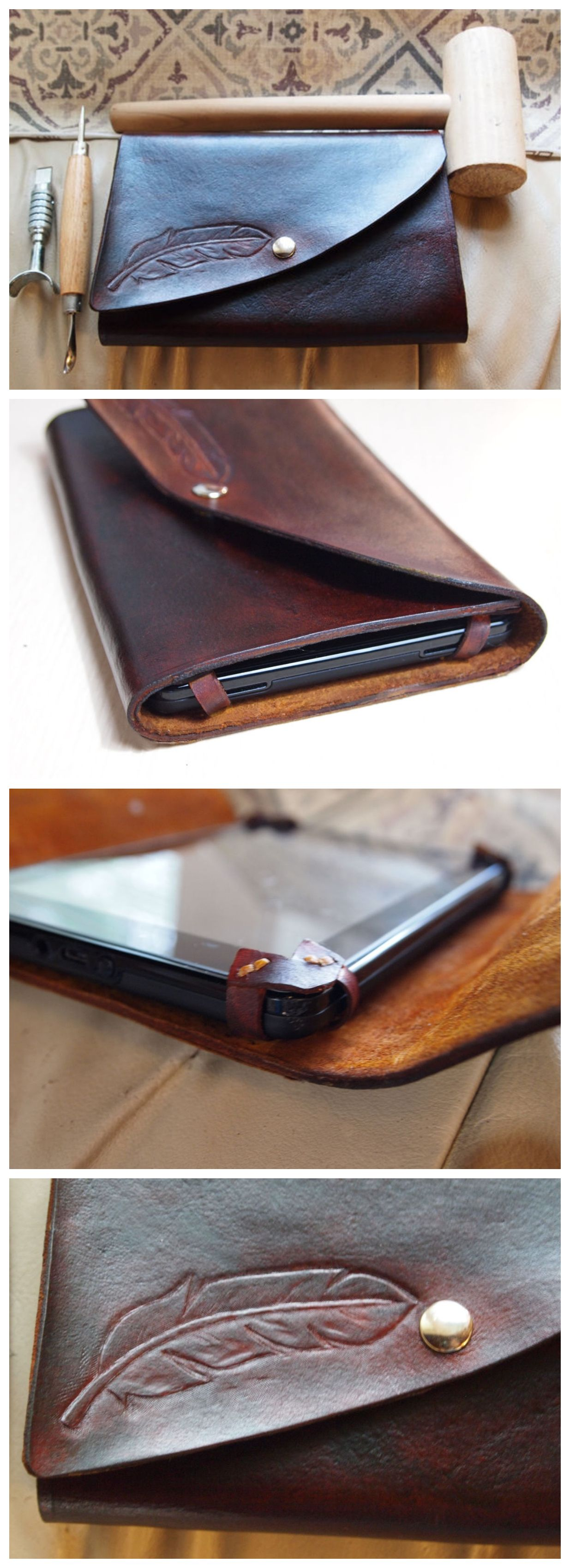 DIY Leather Tablet Case Bolso de mano de cuero, Diario