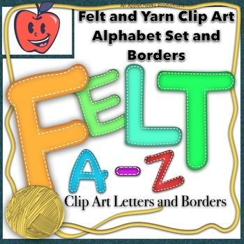 Felt Letters Clip Art Set A To Z Yarn Borders Commercial And