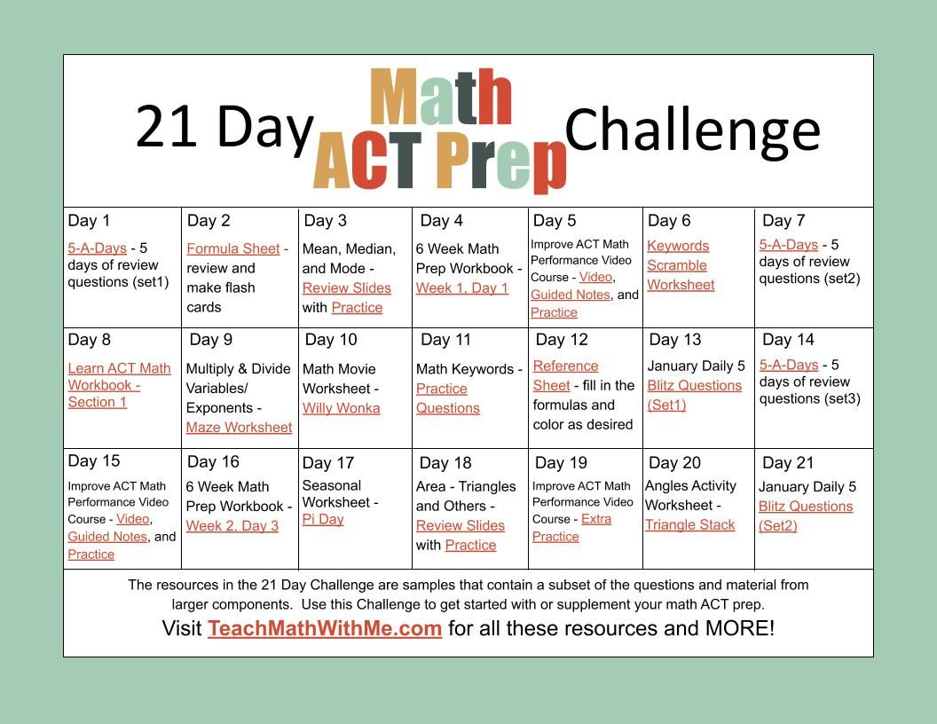 21 Day Math Act Prep Challenge Distance Learning Act Math Act Prep Act Math Practice [ 816 x 1056 Pixel ]