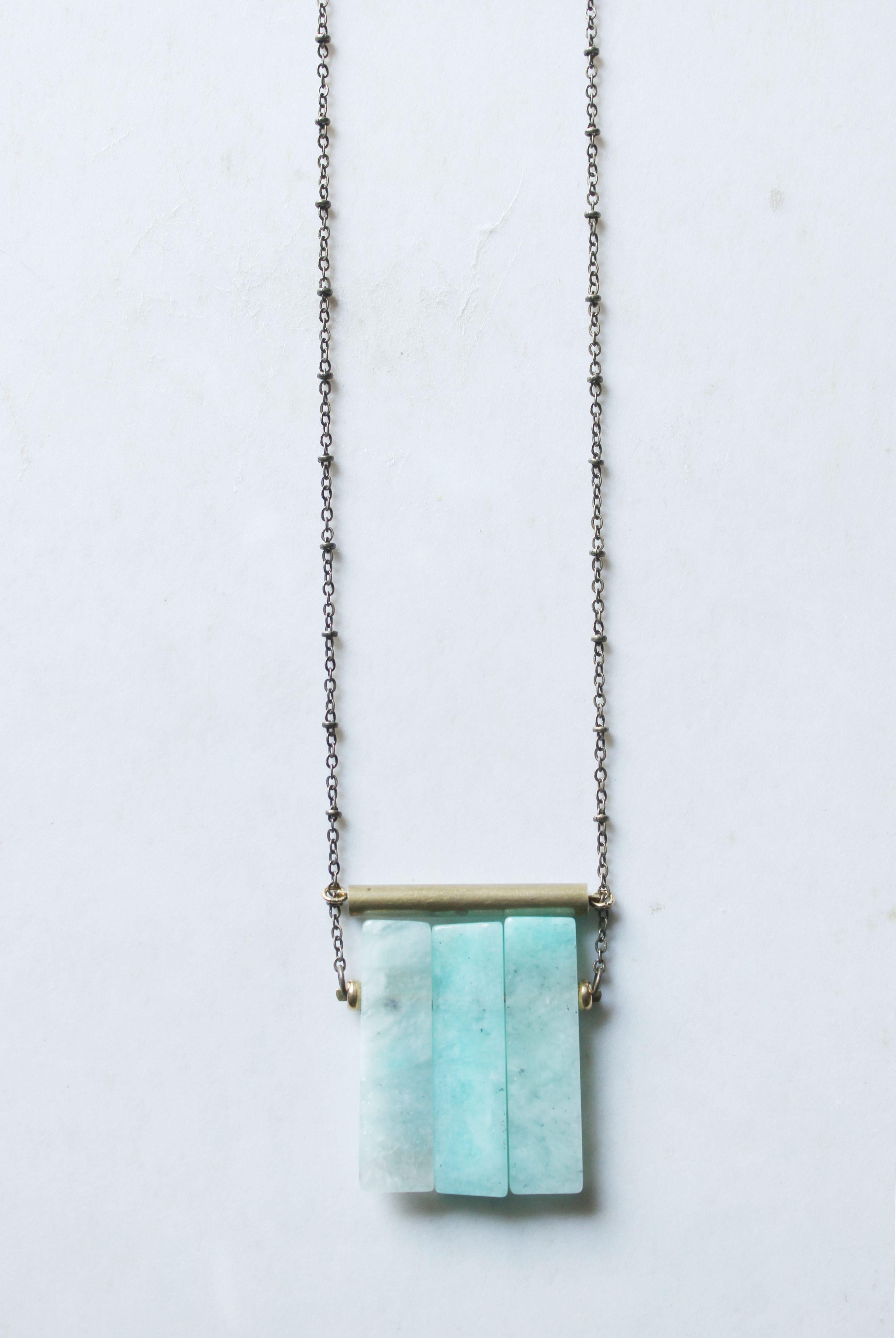 Amazonite Necklace Gold Amazonite Pendant Long Statement Necklace Brass Tube