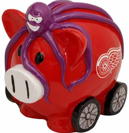 Detroit Red Wings Large Resin Thematic Piggy Bank