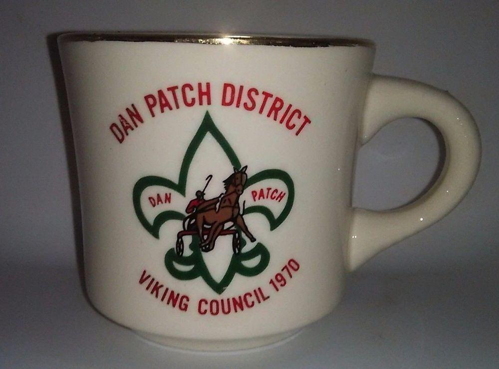 VTG Boy Scout Coffee Mug Dan Patch District Viking Council 1970 Gold Rim Mn.
