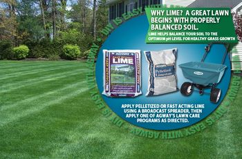 Agway DIY-Why Lime    A great lawn begins with properly balanced soil.  Lime helps balance your soil to the optimum pH level for healthy grass growth.    If your soil is too acidic then nutrients will not be available to the plants even if they are present in the soil. To LOWER soil acidity we need to RAISE the pH value.  To do this, simply add lime.  To find out  how much lime you need, you should test your soil.