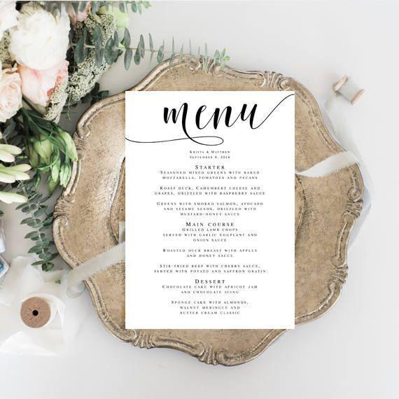 Menu card template Wedding dinner menu Bridal shower menu - dinner card template