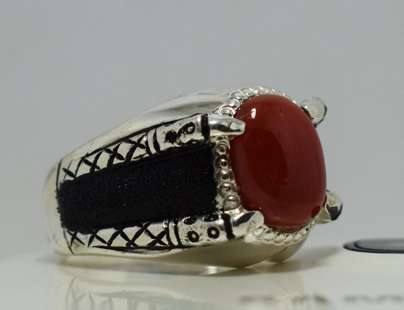 Red ring Red silver ring Red double ring Red onyx ring Red pearl ring