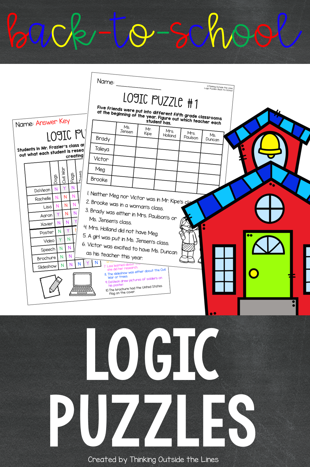 Back To School Logic Puzzles Critical Thinking Activities Logic Puzzles Math Intervention Activities [ 1798 x 1192 Pixel ]