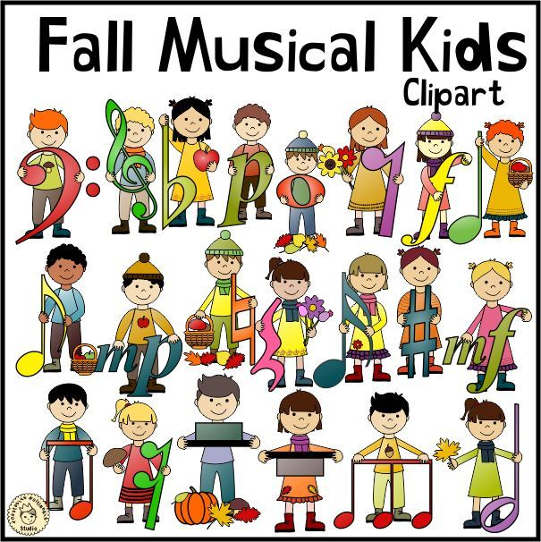 Fall Musical Kids Set Contains 21 Png Color Images With Color Notes And Symbols 21 Png Color Images With Black Notes And S Kids Clipart Musicals Clip Art