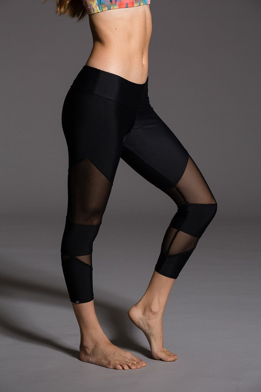 Black Mesh Yoga Leggings