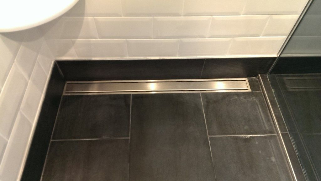 4x8 white gloss subway tile, schluter linear shower drain ...