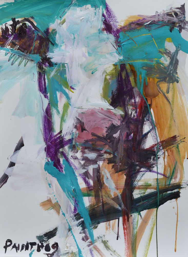2df51fb5185 Abstract Cow Painting. Contemporary Cow Artwork. Affordable Large Cow Art.   Abstract