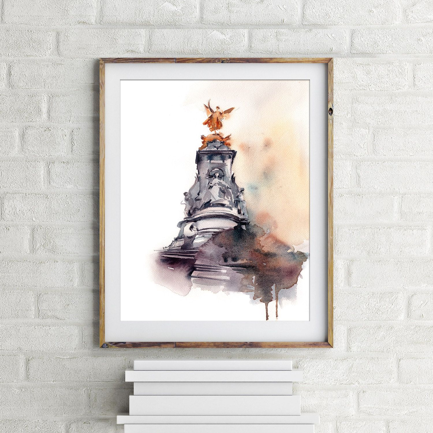 London art print, Victoria Memorial, watercolor painting of London, watercolour wall art, London Art by CanotStopPrints on Etsy