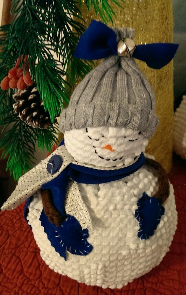 """Snow and Ice"" Snowman from The Cranberry Smuggler on eBay! Handmade Vintage White Chenille Hobnail Bedspread Snowman Christmas Decoration"