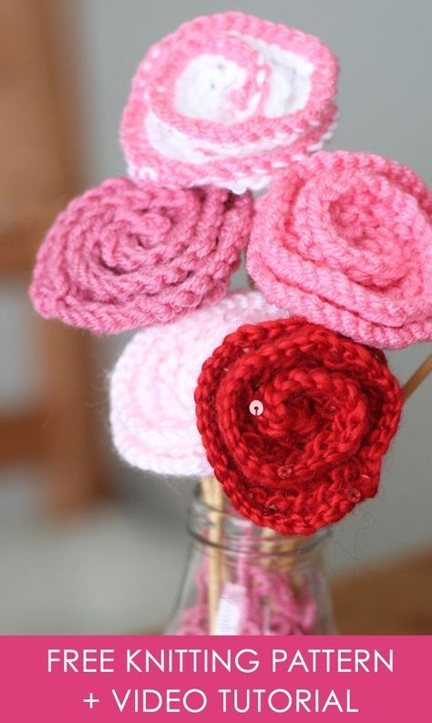 How To Knit Rose Flowers Knitted Pinterest Rose Flowers Free
