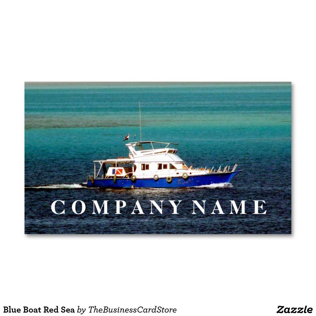 Carte De Visite Blue Boat Red Sea Business Card