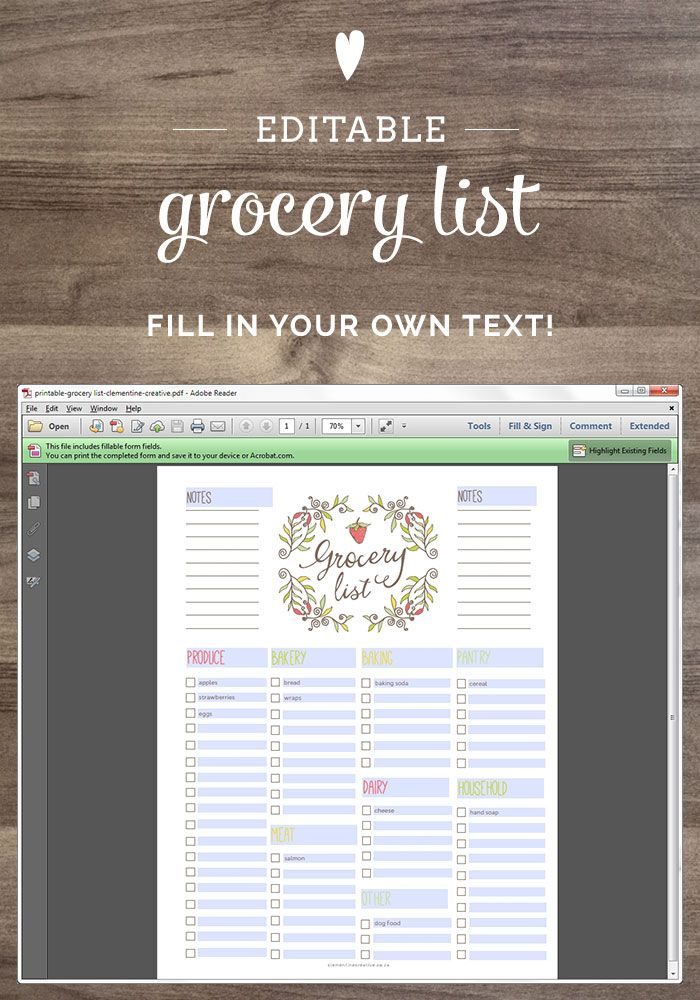 Free Editable Grocery List {Printable PDF} Free printable, Pdf - grocery list word