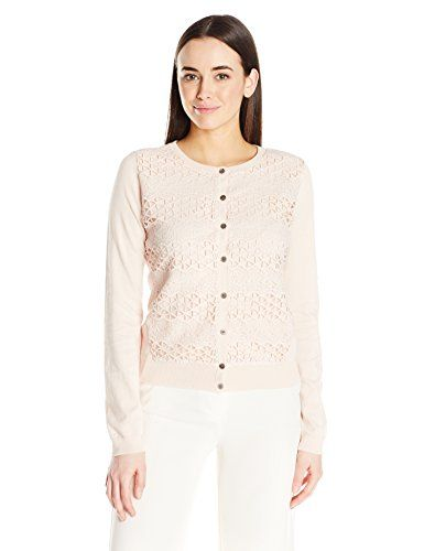 c33270e0e2 Vince Camuto Women s Long Sleeve Cardigan with Lace Stripe Front ...