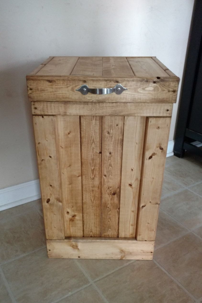 Wood Garbage Can 30 Gallon Trash Can Wood By Ourtwistedcreations Wood Trash Can Wood Trash Can Holder Kitchen Trash Cans