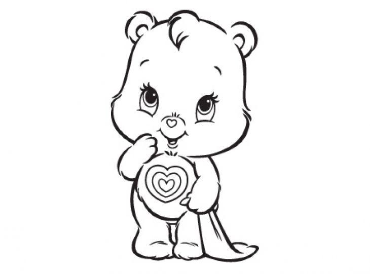 Cute Tenderheart Bear In Care Bears Free Coloring Sheet For