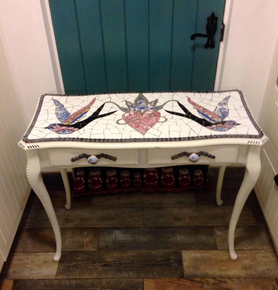 Swallow And Heart Mosaic Console Table. Melting Pot Mosaics.