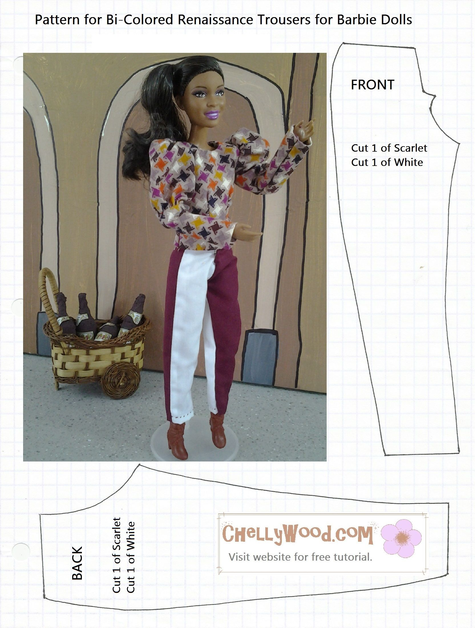 Free printable pattern for Barbie trousers pants from ChellyWood.com ...
