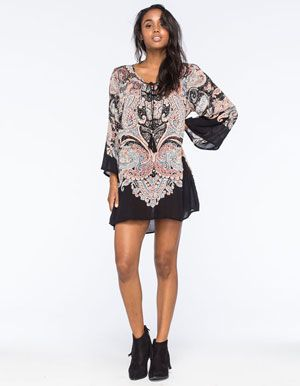 ANGIE Paisley Bell Sleeve Dress