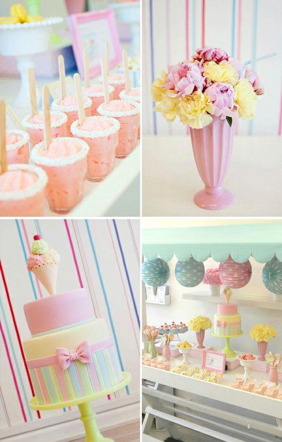 Ice Cream Birthday Party love the flower milkshake