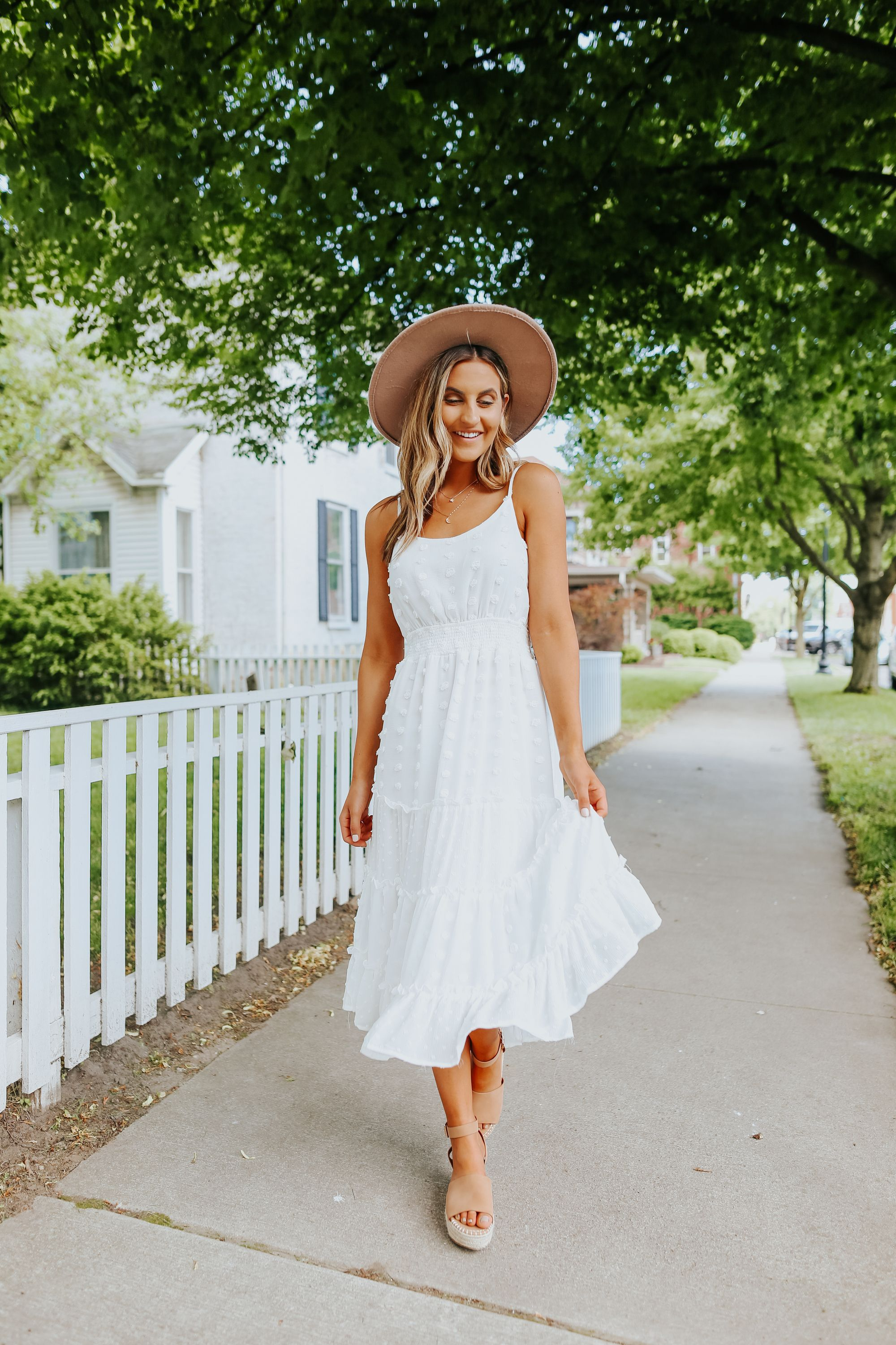 Calling All Brides To Be This Dotted Tiered Midi Dress Features A Scoop Neckline And Has A Smocked Waistl White Midi Dress White Dress Outfit White Boho Dress [ 3000 x 2000 Pixel ]