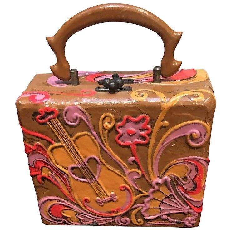 Vintage Lady London Funky Box Bag With Mod Design M Goomis Antiques Ruby Lane