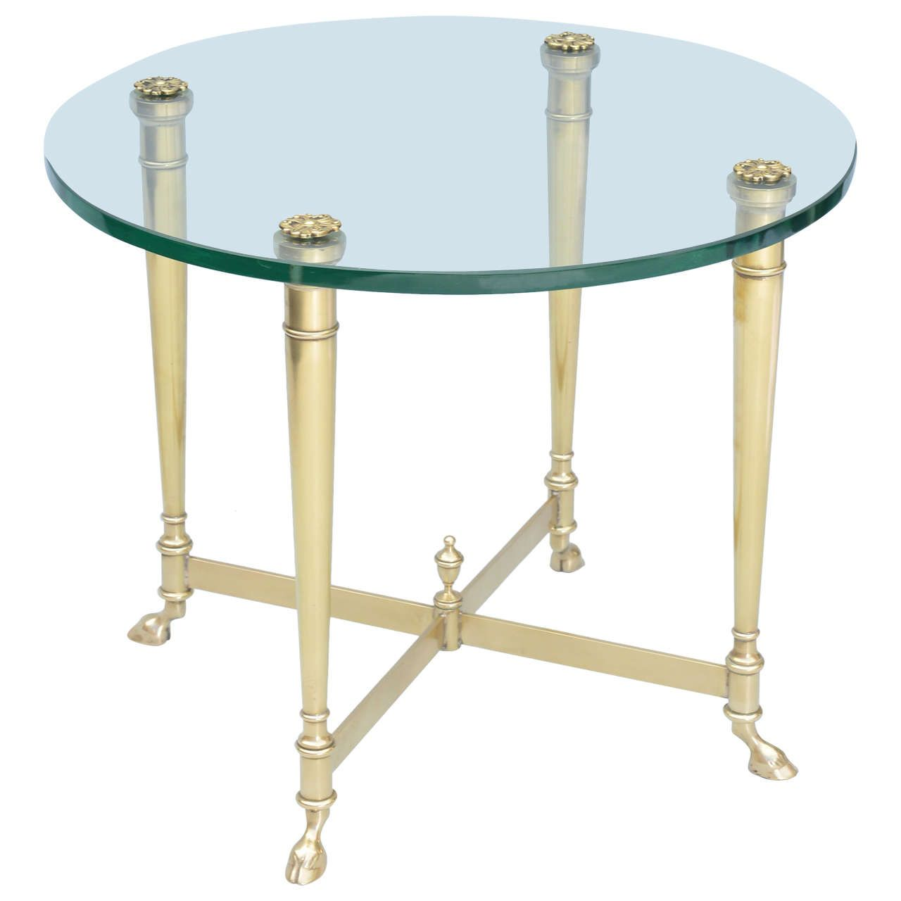Polished Brass End Table With Glass Top On Hooved Feet Glass End Tables End Tables Modern Table Design [ 1280 x 1280 Pixel ]
