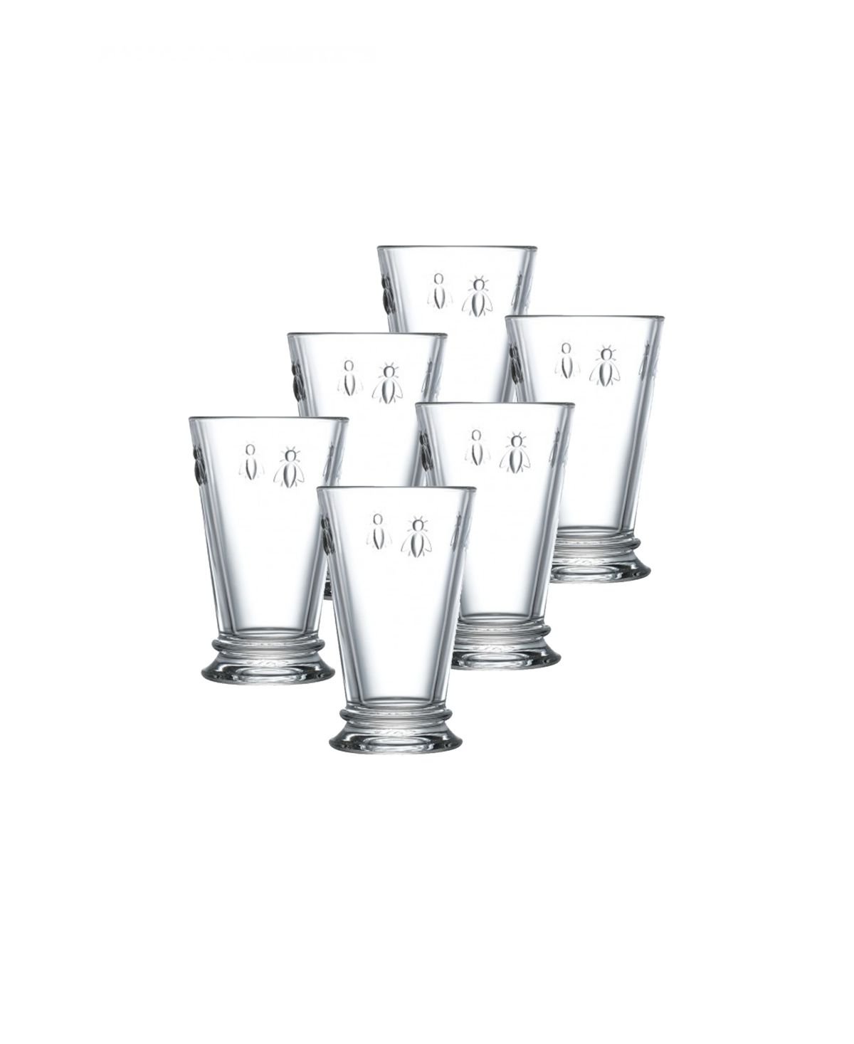 Made by the oldest glass factory in Europe, la Rochere, Napoleonic Bee highball glasses feature exceptionally clear and heavy glass produced in turn-of-the-century molds with traditional seams. A charming bee motif recalls Napoleon's coronation luggage.