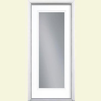 Etonnant Full Lite Pure White Right Hand Inswing Painted Smooth Fiberglass Prehung  Front Door W/ Brickmold