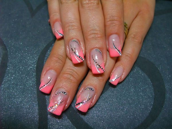 Lines and Dots with Pink Background Nail Design - Lines And Dots With Pink Background Nail Design Nails And Polish