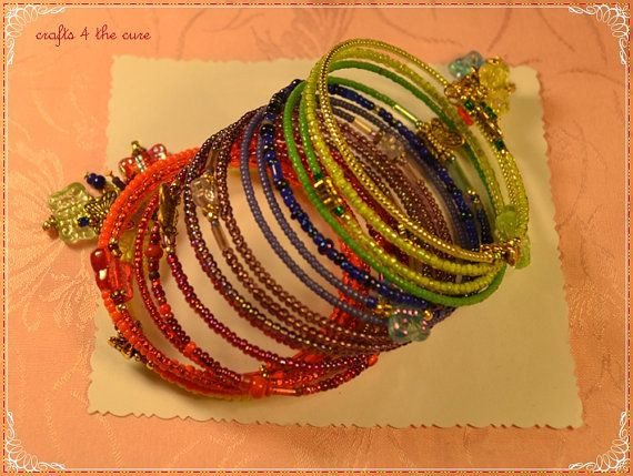 Rainbows and Butterflies Extra Small Memory Wire Wrap Bracelet by crafts4thecure