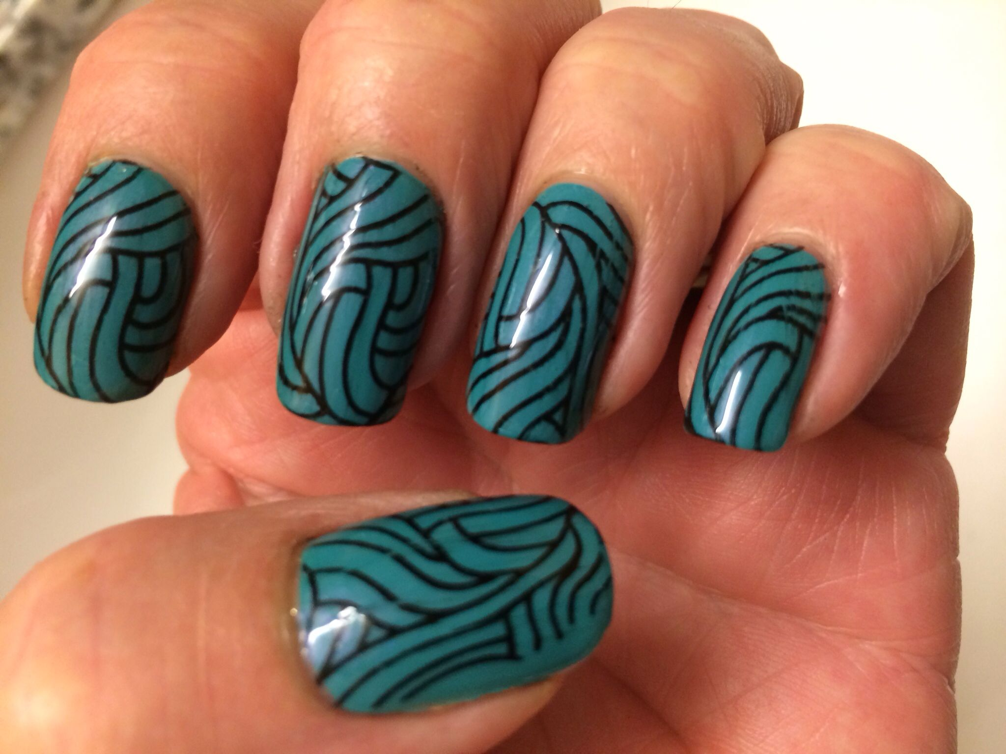 Gap Bright Pool with Fab Ur Nails FUN 5 stamping. | Manicures by ...