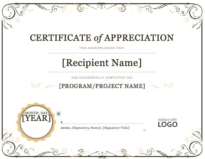 Certificate of Appreciation Microsoft Word – Word Template for Certificate