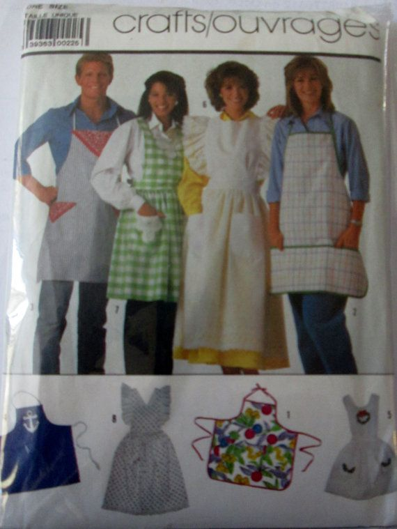 Simplicity 7874 Women and Mens Apron Sewing Pattern 80s | Apron ...
