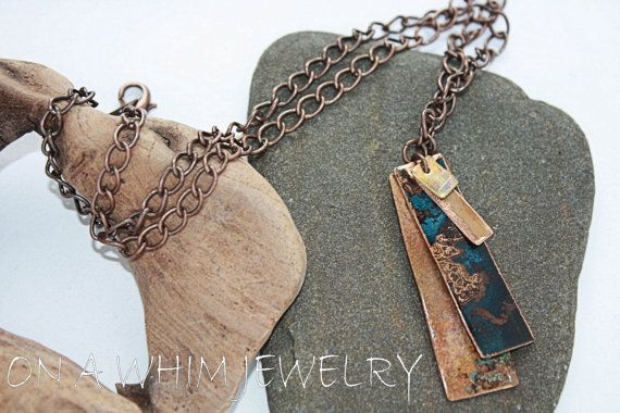 Brass and Copper Patina Verdigris Metal Tag by #OnAWhimJewelry