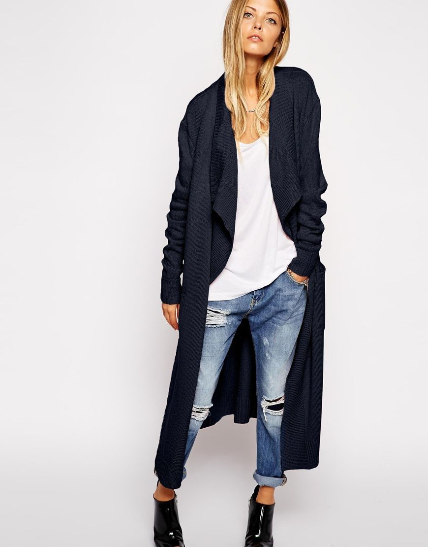 Image 1 of ASOS Longline Waterfall Cardigan In Brushed Knit ...