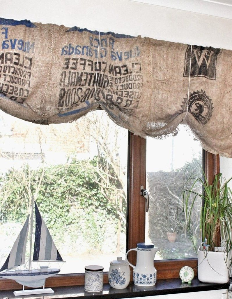 Burlap Shouldn T Be Too Difficult To Make My Own Kitchen Kitchen Curtains Coffee Print Coffee Cottage Kitchen Decor Rustic Kitchen Decor Kitchen Decor Themes