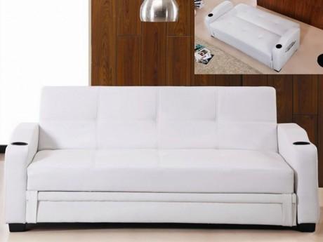 Sofa Cama Clic Clac De Piel Sintetica Mirella Blanco Avec Images Canape Convertible Canape Convertible