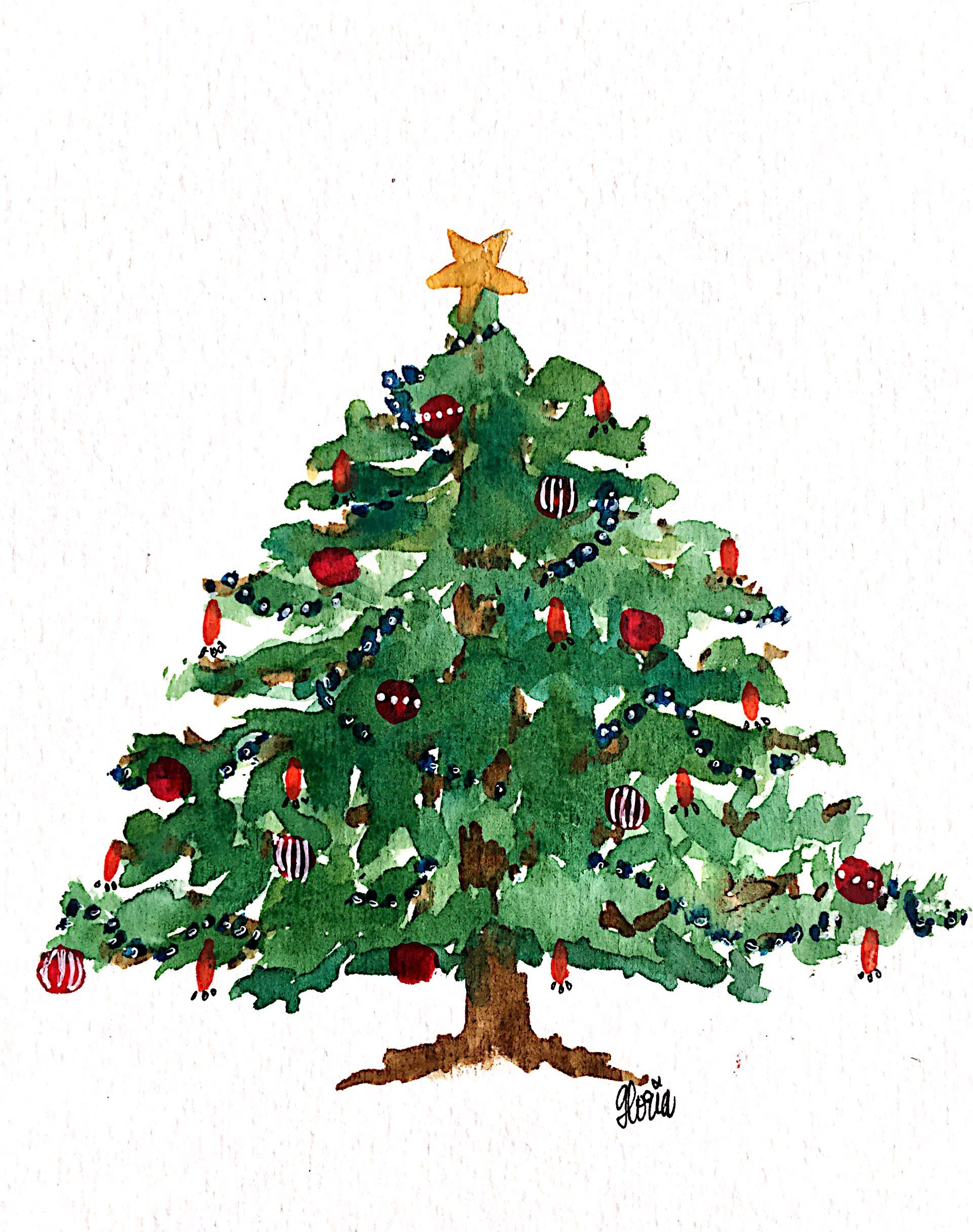 Tree Drawing With Watercolor Gloriori Christmas Illustration Watercolor Tree