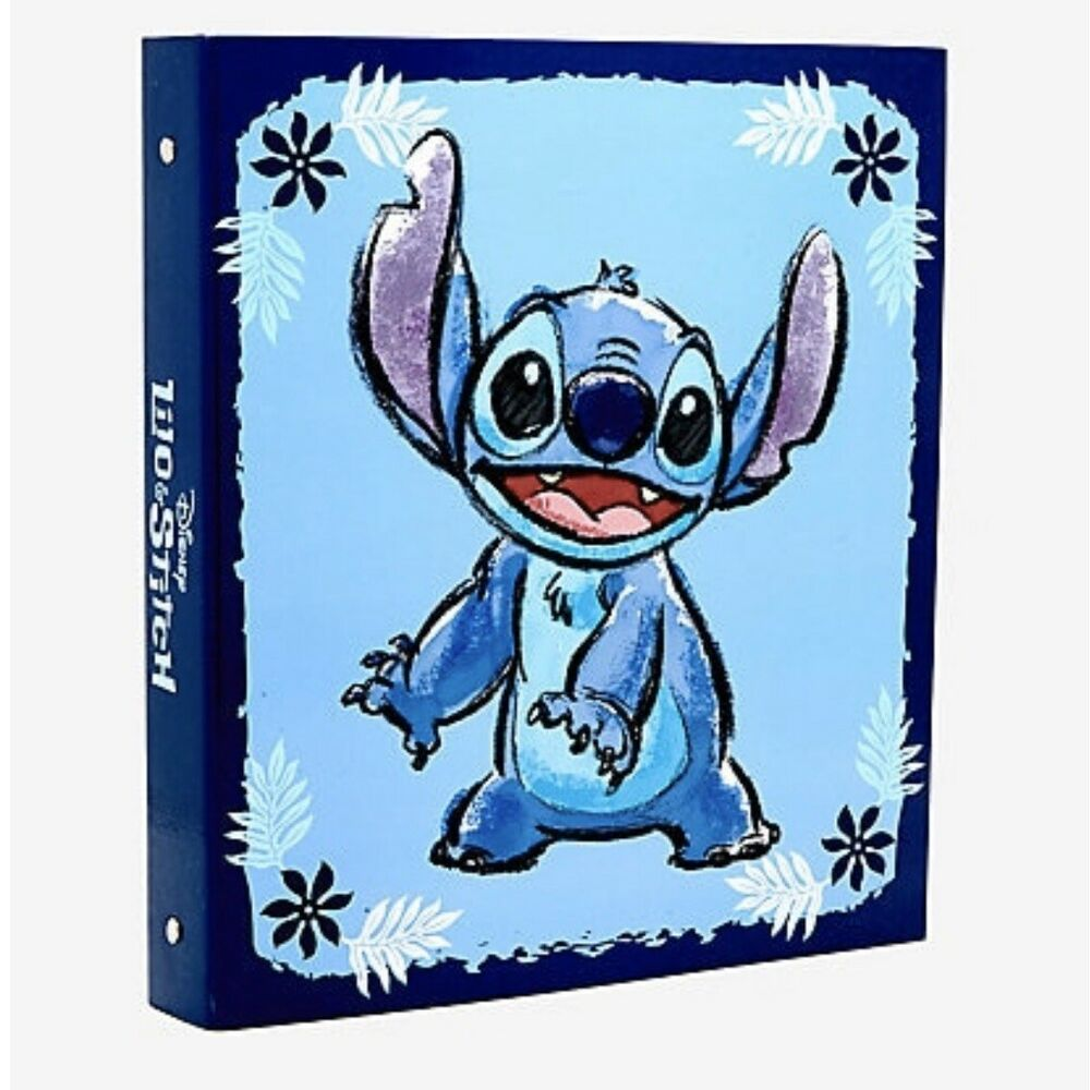Lilo And Stitch Notebook Binder Blue Floral 3 Ring