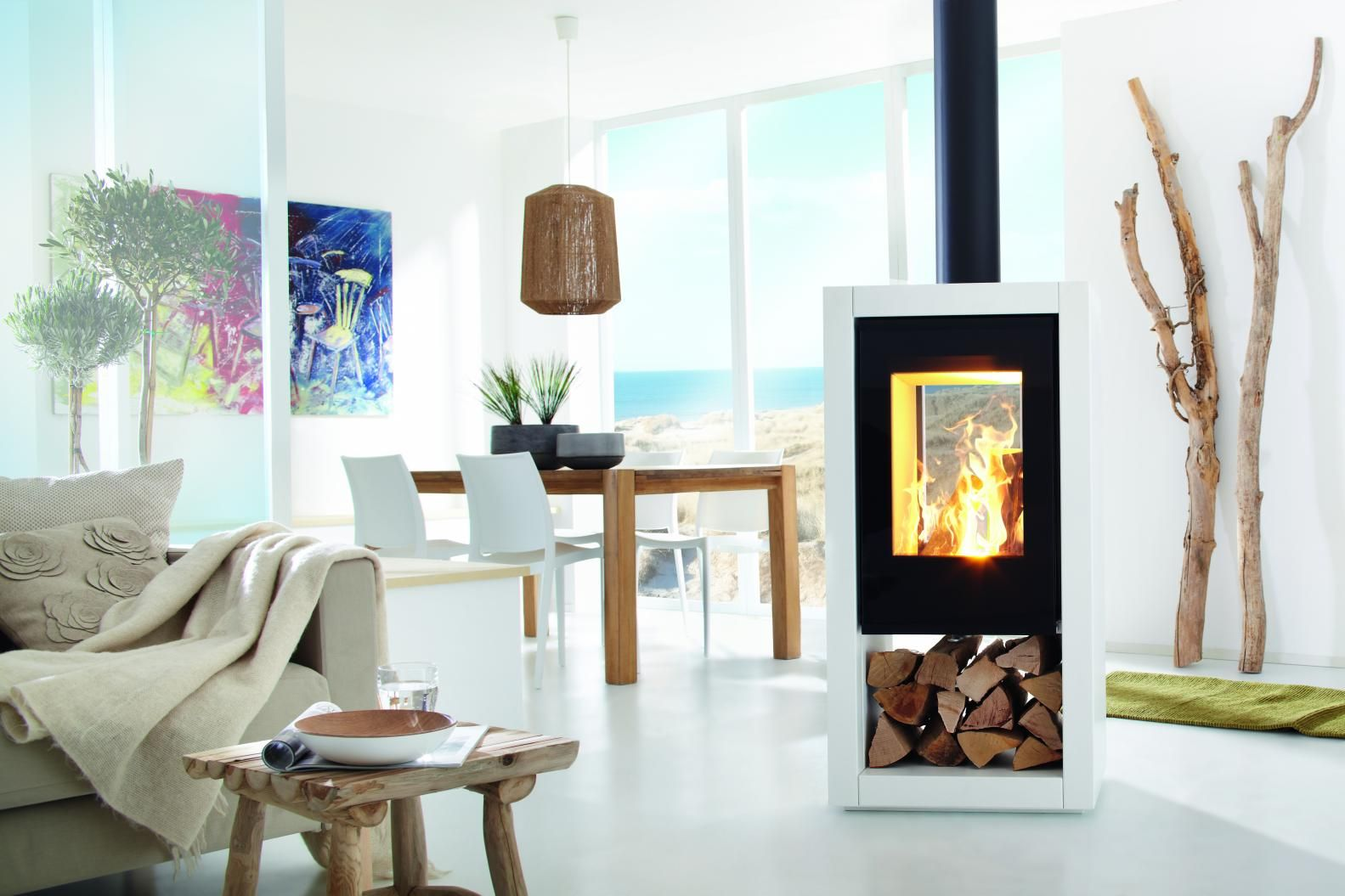 chimeneas de doble cristal para separar ambientes en el saln de casa decoracin - Chimeneas Diseo