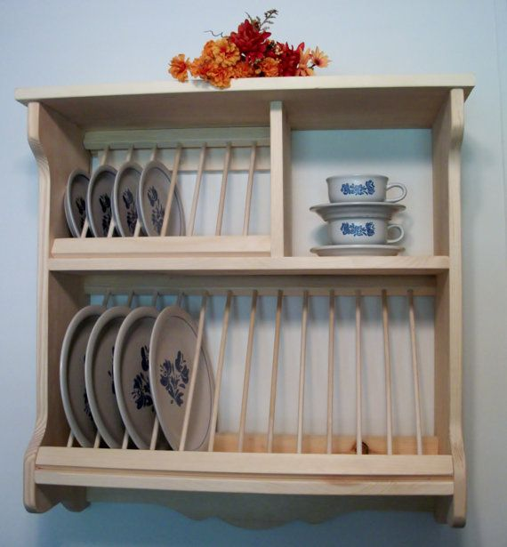 PLATE RACK wood dish display storage wall by OldYankeeWorkshop & Plate Rack by OldYankeeWorkshop on Etsy | ellas kitchen | Pinterest ...