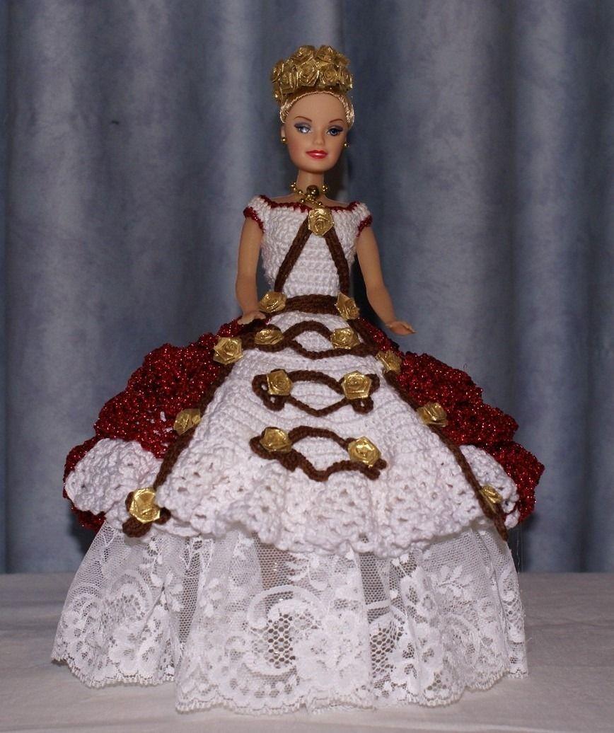 robe de princesse barbie blanche et rouge paillet au. Black Bedroom Furniture Sets. Home Design Ideas