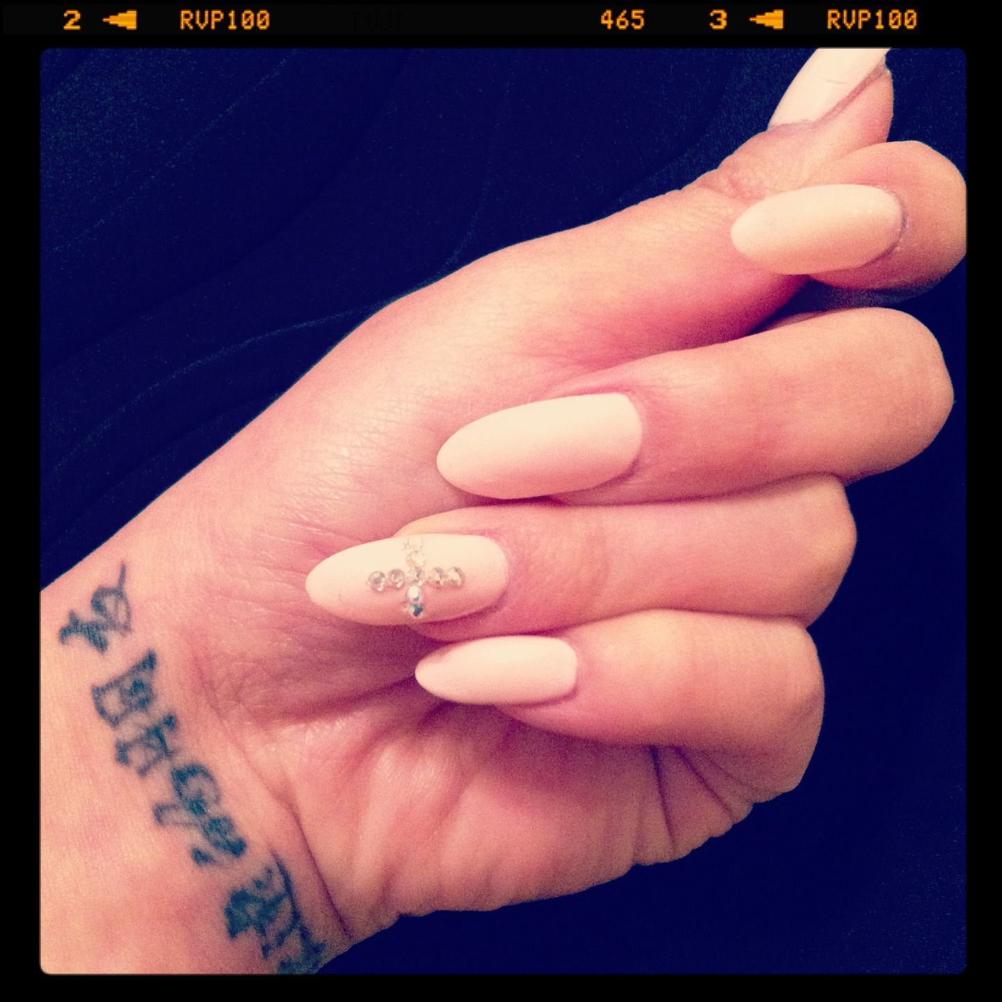 Stiletto Nails In Baby Pink With Gem Designs Done By Jimmy At