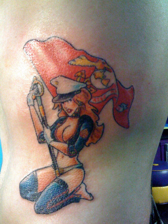Marine corps pin up girl tattoos