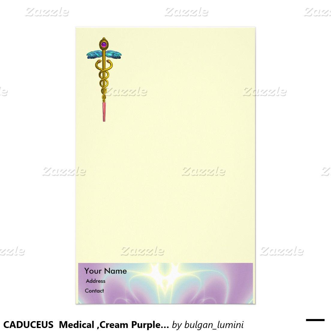 CADUCEUS  Medical ,Cream Purple Blue Stationery